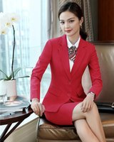 Work Dresses Formal Ladies Red Blazer Women Business Suits With Skirt And Jacket Sets Wear Office Uniform Designs