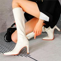 Boots Sexy Party Pumps Women Pointed Toe Knee High Heels Tall Long Wedding Riding Booties 34 35 36 37 38 39