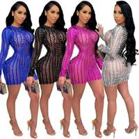 Frauen Nachtclub Tragen Sheer Kleid Aushöhlen Minirock Langarm Dünne Kleid Paket Hüftrock A125