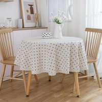 Table Cloth Japanese Style Small Daisy Flower Round Tablecloth Cover With Lace Hem Coffee Dinner For Wedding Banquet