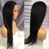 Brazilian Black Long Silky Straight Full Wigs Human Hair Heat Resistant Glueless Synthetic Lace Front Wig for Fashion Women
