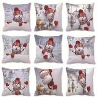 Christmas Day Pillows Case Snowman With Red Hat Pillow Cover 45*45cm Sofa Nap Cushion Decorative Home