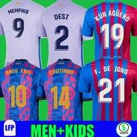 21 22 22 Барселона Футбол Джерси Мемфис Третья Камиссетас де футболка Barca Kun Coutinho Aguero Ansu Fati 2021 2022 Griezmann F.de Jong Dest Men + Kids Kit устанавливает носки