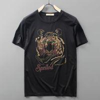 4 Cores Nova Cabeça de Tigre de Verão Camisetas Perfuração de Perfuração Tigre Tees Para Homens Manga Curta Camiseta TAMANHO M-5XL