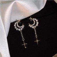Stud Simple Moon Star Rhinestone Long Chain Earrings For Women Shine Sun Crescent Geometric Tassel Piercing Earring Party Jewelry