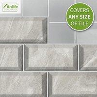 Funlife® Lenox Gris Matte Matte Wall Etiqueta de pantalla Decorativo extraíble ecológico PVC Baño Cocina Backsplash Piso