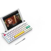 Ajazz K620T Pink Switches Keyboard 60% RGB Bluetooth Wireless Wired Mechanical with 4400mAh Battery PBT Keycaps Wheel Volume Button (White)