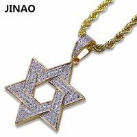 Colares de pingente Jinao Gold Color Banhado para fora Bling Bling Colar de jóias Micro Pave CZ Stone Estrela de David Hip Hop Rock para homens