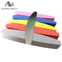 70pcs / lot spons schuurpapier bestand buffs voor maan ontwerp 100/180 schuurschuim emery board nagelbestanden polijstmachine mix kleur