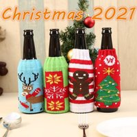 christmas knitted wine bottle cover party favor xmas beer wines bags santa snowman moose beers bottles covers