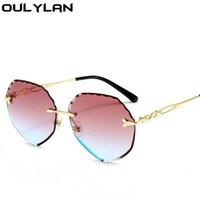 Güneş Gözlüğü Oulylan Seksi Mavi Pembe Kadınlar için Çokgen Çerçevesiz Güneş Gözlükleri Kadın Moda Kırpma Gözlük Açık Tarzı UV400