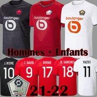 2021 2022 Losc Lille Soccer Jerseys Burak Fonte Bamba Yazici J David Football Shirt 21 22 Lille Olympique Jikone 10 Adult Child Kit
