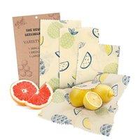 Échauffeurs de nourriture Conteneurs de stockage Beeswax wraps, sac de saran réutilisable 3 pack, couvercle couvercle en tissu écologique
