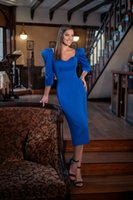 Kraliyet Mavi Kadın Elbise Akşam 2022 Kare Boyun 3/4 Uzun Kollu Kokteyl Parti Abiye Çay Boyu Kısa Balo Vestidos