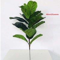 122cm grandes plantas artificiais falsificadas folha de palmeira verde ramo tropical plástico plástico de plástico Lifelike Elemo de Halloween Decor 210624