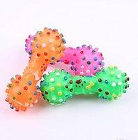 الكلب اللعب الملونة المنقطة الدمبل شكل الكلب اللعب ضغط صار فو العظام العظام مضغ لعب للكلاب
