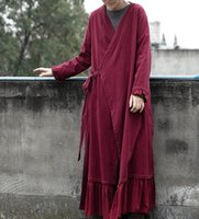 Women's Trench Coats Women Bandage Long Maxi Vintage Cotton Linen 2021 Spring Patchwork Loose Solid Color Chinese Style