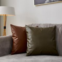 Imitación cuero sofá cojín cobertizo color sólido almohada cubierta coche almohada caja de alta calidad cremallera funda de almohada breve decoración del hogar BC VT0891