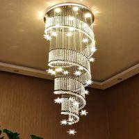 Современные светодиодные люстры K9 80CM 100см Dimmater Crystal Crystal Crystalier Lighting Высокая подвесная лестница бар домашняя подвеска освещения включает лампочку