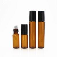 100pcs lot 5ML 10ML Travel Perfume Bottle Glass Roller Ball Essential Oil Bottles Refillable Perfume Bottle Container