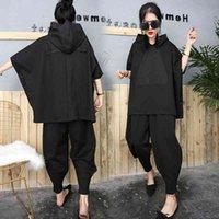Women's Two Piece Pants preto hip hop duas peças conjunto outono solto agasalho com capuz topos + harem calças das mulheres terno feminino manto bat camisa AKBF