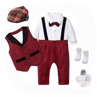 Kläder uppsättningar baby pojke kostymer födda pojkar kläder väst + romper hatt + skor formell outfit party bow tie toddler födelsedag klänning 0-24