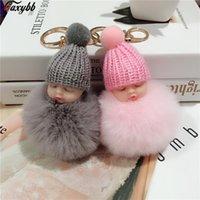 Sleep Pop Pompom Faux Fur Bal Car Key Ring Baby Women Keychain Task Hanger Toys Chain Drinks
