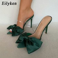 Eillken шелковый бабочка-узлы женщины тапочки мул высокие каблуки тапочки сандалии шлепанцы заостренные пальцы ножные скользкие скользкие туфли 210302