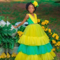 Colorful Tier Ruffles Flower Girls Dresses V Neck Crystal Sash Pleat A Line Child Pageant Dress Kids Special Occasion Gown
