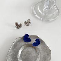 Stud 2021 Korea Fashion Simple Blue Silver Color Irregular Love Heart Retro Metal Earrings For Women Girls Jewelry Accessories