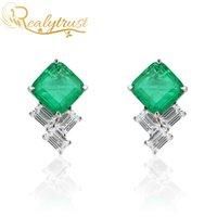 Realytrust Fashion 9 * 9mm Quadrato Colombia Emerald Gemstone Gemstone orecchini per le donne Solid 925 orecchini in argento sterling 925 Wedding 210312