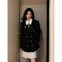 Women's Wool & Blends 2021 Korean Version Of The Si Service Black Retro Woolen Coat Female Autumn And Winter Loose Suit Dress