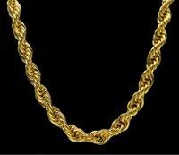 Güzel Takı Kalın 30 inç Uzunluğu 10mm Geniş Halat Bükülmüş Zincir 24 K Altın Kaplama Hip Hop Bükülmüş Ağır Kolye Mens