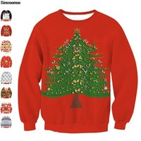 Women's Sweaters Women Men Ugly Christmas Crewneck Sweater Novelty 3D Tree Print Graphic Long Sleeve Xmas Jumpers Tops