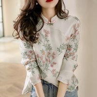 linen shirt cheongsam blouse chinese style high quality flower embroidery long sleeve autumn tops cotton and elegant