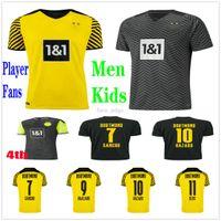 21 22 Дортмунд футбол для футбола Haaland Reus Malen Hazard Reyna Hummels Brandt Sancho Custom 2021 2022 игрока вентиляторы версия для взрослых мужчин Детский комплект Футбольная рубашка