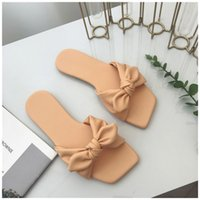 Women SUOJIALUN Bohemian Bow Flat Slippers Summer Outdoor Non-slip Beach Shoes Flip Flops Slip On Slippers Slides Zapatos Mujer C0313