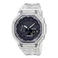Venta de nueva venta 2100 LED reloj digital para hombres Causal Sport Wristwatch Dual Pantalla Silicon Transparent Strap Todos los punteros están funcionando
