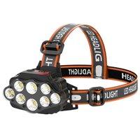 Super Bright LED Headlamp com 8 * Lâmpadas LED recarregável à prova d'água ao ar livre LED Farol Leve Materiais confortáveis