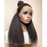 Glueless Kinky Straight Curly Yaki Jet Black Synthetic Lace Front Wigs For Women Middle Ratio Cosplay Wig Daily Wig Heat Resis