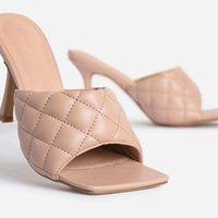Yuxiang الصيف النساء أحذية البغال تصميم النعال الصنادل ساحة وحيد الشرائح عالية الكعب 9 سنتيمتر أنثى سانداليس كبيرة الحجم 39 41 42