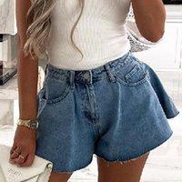 Women's Shorts Women Summer Fashion Button- High Waist Jean Ladies Elegant Wide Leg Denim Casual Pocket Short Pants Streetwear