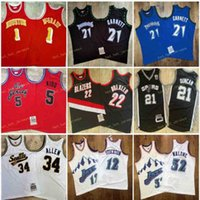 M N Vintage Tracy 1 McGrady Kevin 21 Garnett Jason 5 Kidd Clyde 22 Drexler Tim 21 Duncdn Malone Stockton Stitch كرة السلة جيرسي