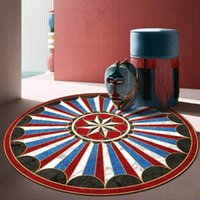 Tapetes Retro Style Europeu Rodada Área Roug Creative Geometric Imprimir Quarto Pendurado Cadeira Anti-Slip Tapete Sala de estar Sofá