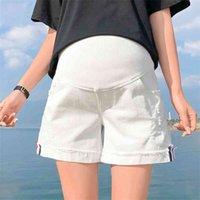 Vêtements de maternité en coton d'été Denim Mère Mère Pantalon Jean pour femmes enceintes Taille élastique Jeans de la grossesse Vêtements 210812