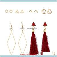 Dangle & Chandelier Earrings Jewelryearrings Fashion Women 6 Pairs Long Tassel Faux Pearl Rhinestone Hook Stud Hoop Earring Set Drop Deliver