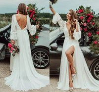 Sexy Ivory Chiffon A Line Wedding Gowns 2021 Deep V Neck Long Sleeves Backless Plus Size Front Split Boho Beach Bridal Party Dresses