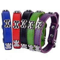 PU кожаный ошейник собаки костяная усеянные ошейники для маленьких собак щенок домашних животных красные черные фиолетовые цвета размером S M l