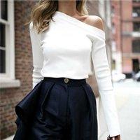 Yukiese weiße weibliche T-Shirt aus Schulter Slash-Hals Sexy Top Split Langarm Damen T-Shirts Koreanische Kleidung Große Größen 210608