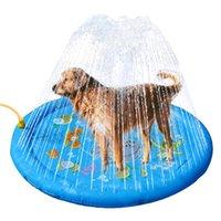 Splash Sprinkler Pad для собак Дети, Собака Бассейн Бассейн 100 см Утолщенные Прочные Ванны Ванна ПЭТ Летние Лето Наружная Вода Игрушки